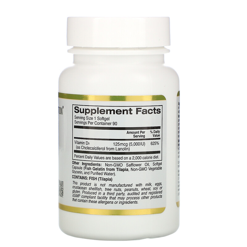 California Gold Nutrition, vitamine D3, 125 mcg (5000 UI..